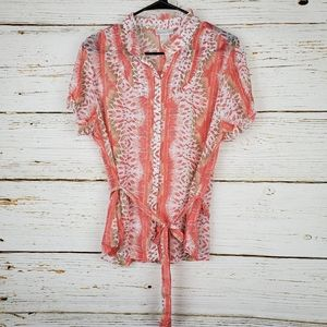 Worthington Semi Sheer Print Blouse